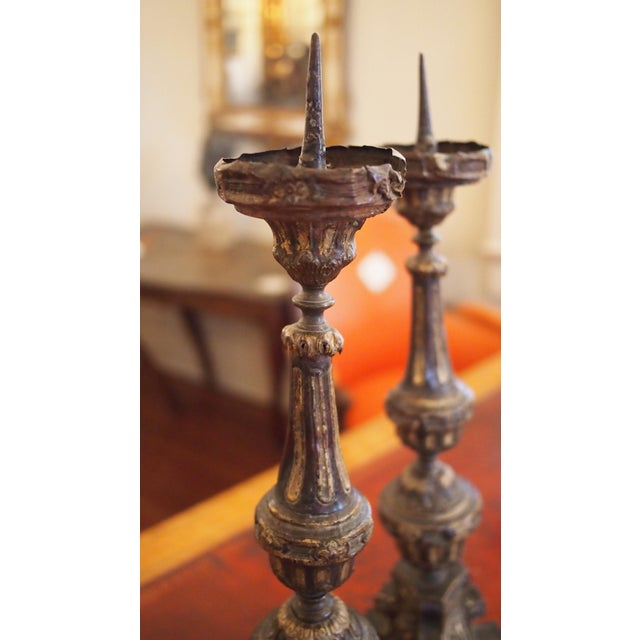 Louis XIV Style Tole Candlesticks For Sale - Image 9 of 11