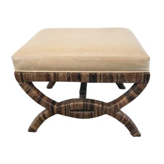 Havana Leather Upholstered Stool For Sale