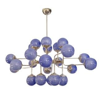 Italian Modern 24-Light Lavender Periwinkle Murano Glass Nickel Chandelier For Sale