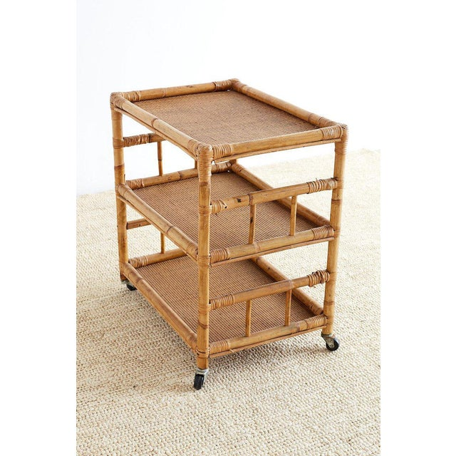 Bamboo and Raffia Rolling Three-Tier Serving Cart For Sale - Image 10 of 13