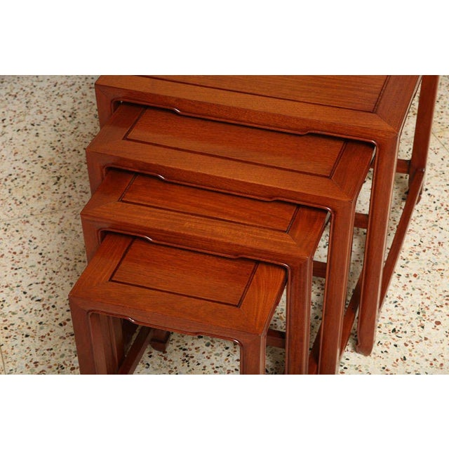 Teak 1970s Vintage Baker Far East Collection Style Teak Nesting Tables - Set of 4 For Sale - Image 7 of 12