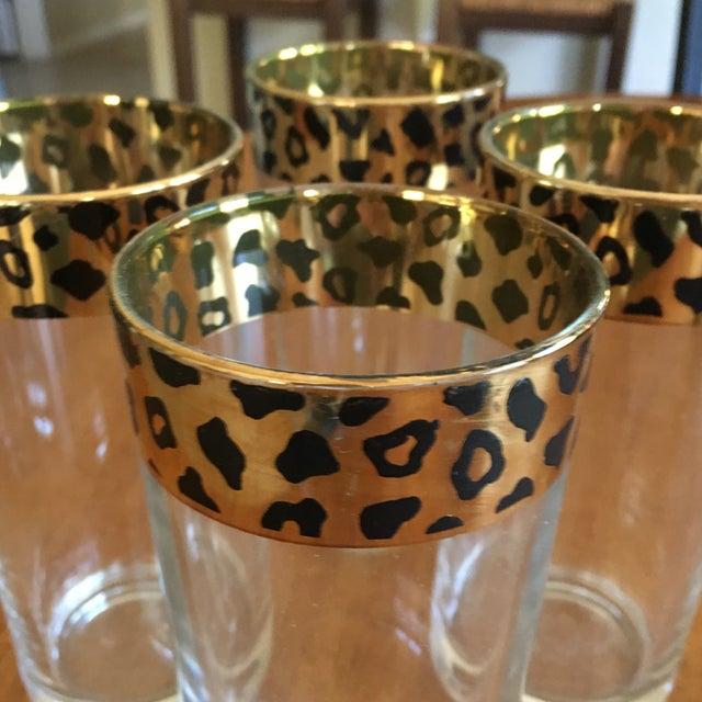 Italian Black & Gold Cheetah Print Glasses - Set of 4 - Image 3 of 10