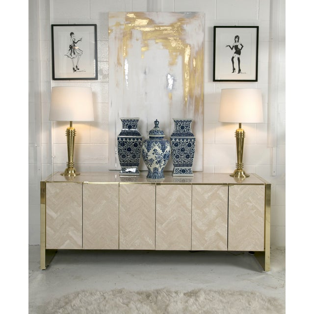 Ello Polished Travertine & Brass Credenza - Image 4 of 10