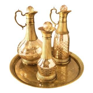 Vintage Brass & Iridescent Amber Crystal Decanter Set