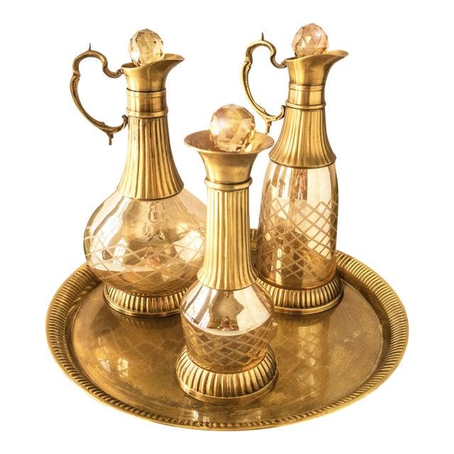 Vintage Brass & Iridescent Amber Crystal Decanter Set For Sale