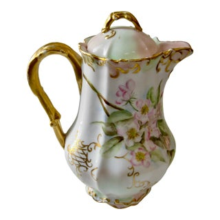 Antique Late 19th Century Limoges France Hand Painted Apple Blossom Chocolate / Cocoa Pot For Sale