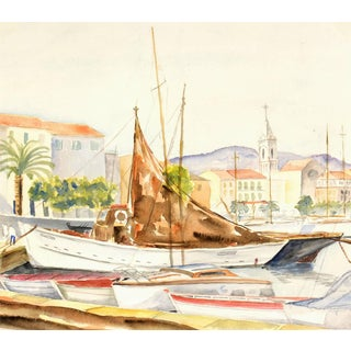 French Watercolor Harbor Landscape - Mediterranean Wharf With Sailboats For Sale