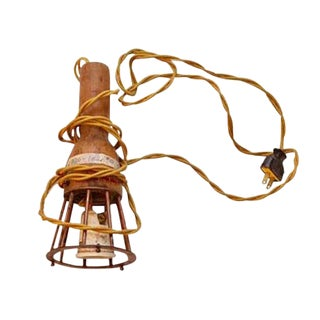 Industrial Wooden and Metal Hanging Lamp Guard For Sale