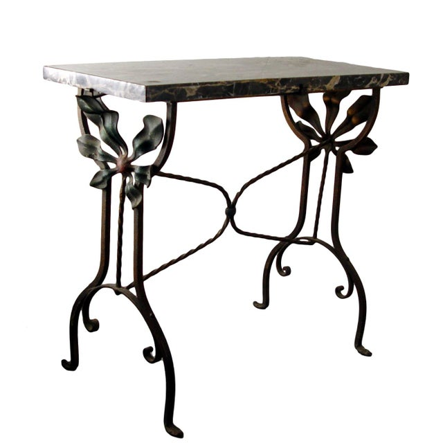 Black Art Deco Iron Marble Top Hand Forged Side Table For Sale - Image 8 of 8