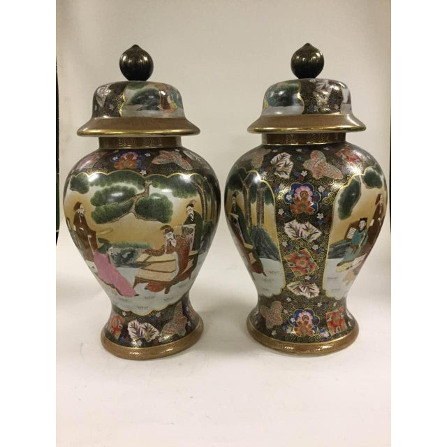Chinese Famille Rose Vintage Style Temple Jar/Pair - Image 2 of 8