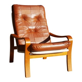 Mid-Century Modern Swedish Plywood and Leather Patchwork Lounge Chair For Sale