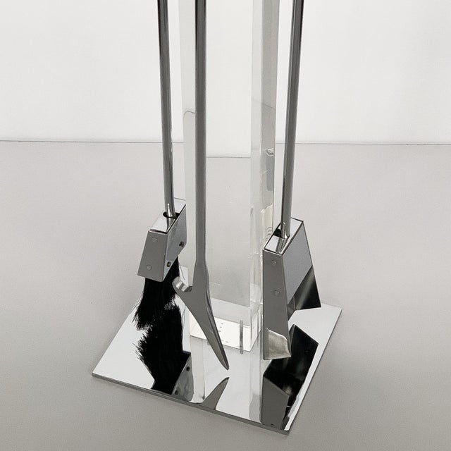 Chrome 1970s Albrizzi Lucite and Chrome Fireplace Tools For Sale - Image 7 of 11