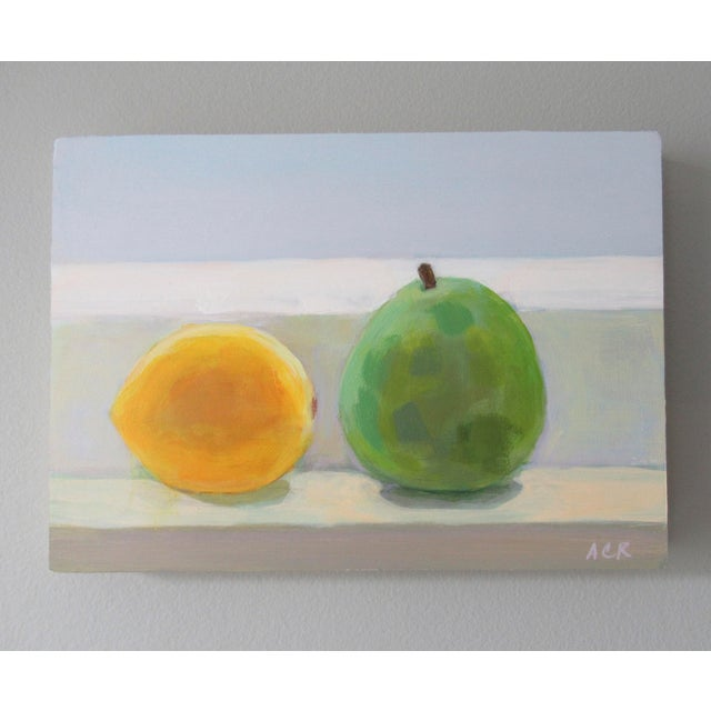 Painted from life, a lovely lemon and Anjou pear. This painting is 5 x 7 inches, acrylic on primed birch wood panel,...