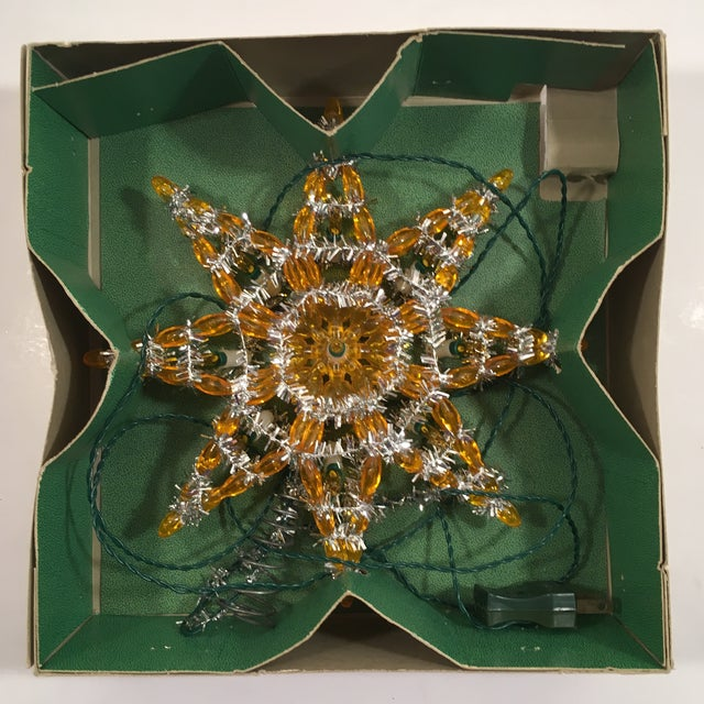 Vintage Silver & Yellow Light-Up Star Tree Topper - Image 2 of 7