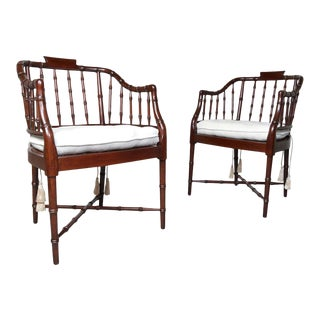 Baker Furniture Faux Bamboo and Cane Regency Armchairs For Sale