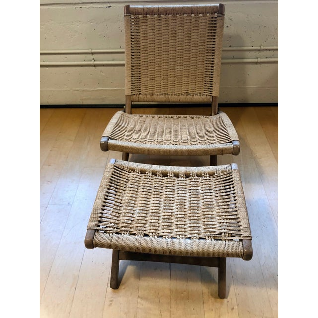 1960's Danish Modern Folding Rope Chair & Ottoman - 2 Pieces For Sale - Image 10 of 10