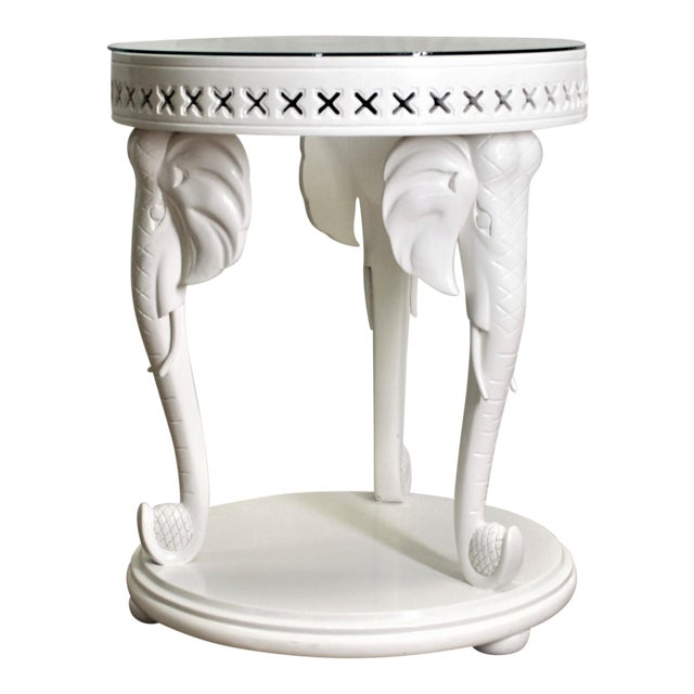 Carved Elephant Side Table - Image 1 of 7