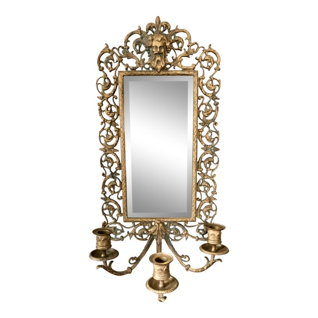 Antique Brass Bacchus Three Candle Mirrored Wall Sconce For Sale