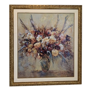 "Mid 20th Century Painting ""The Warmth Flowers "" by Mary Dulon For Sale"