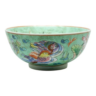 Mid-Century Chinese Macau Duck Motif Porcelain Bowl For Sale