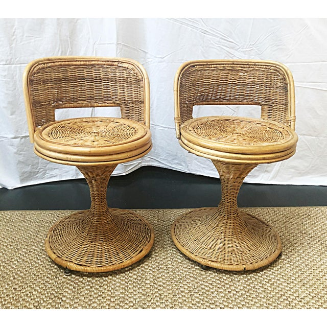 Boho Chic Swivel Wicker Stools - a Pair For Sale - Image 3 of 3