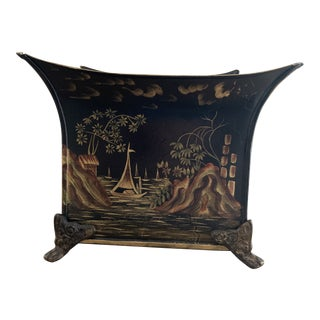 Black and Gold Painted Chinoiserie Tole Jardiniere For Sale
