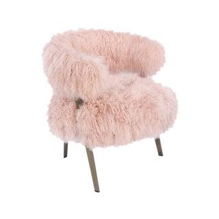 Adele Lounge Chair - Blush Sheepskin For Sale