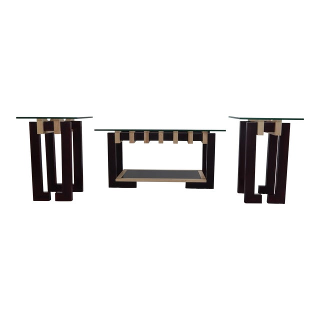Modern Ant Walnut Maple Coffee & Side Tables - Set 3 - Image 1 of 9