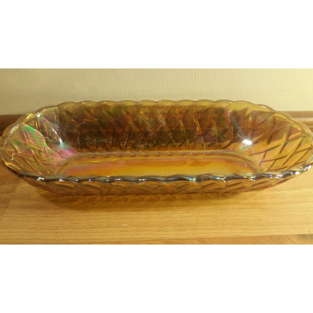 1960s Marigold Carnival Glass Oblong Dish For Sale - Image 5 of 5