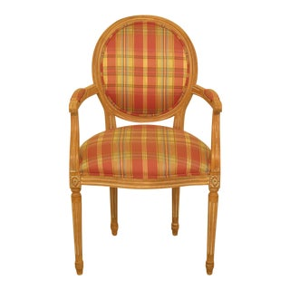 Modern Ethan Allen Plaid Print Upholstered French Armchair For Sale