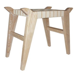 Modern Arvid Wood & Webbing Bench For Sale