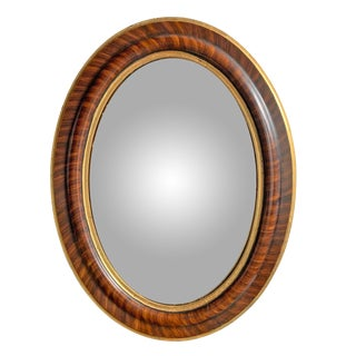 19th Century American Oval Convex Mirror For Sale