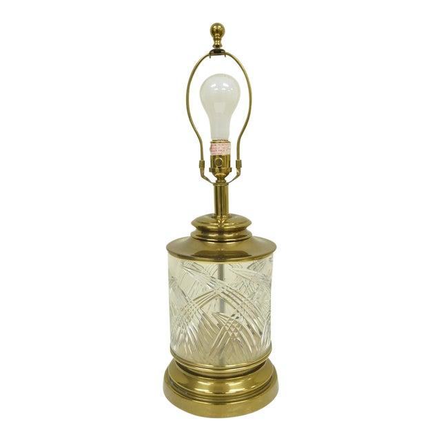 Vintage Ethan Allen Brass & Etched Crystal Glass Table Desk Bedside Table Lamp For Sale