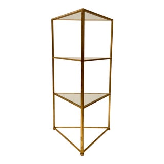 Currey & Co. Contemporary Gold Metal and Glass Delano Corner Table/Side Table For Sale