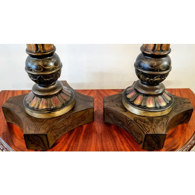 Vintage John-Richard Associates Painted Weighted Large Candlesticks Jra 4809 - a Pair For Sale - Image 10 of 13