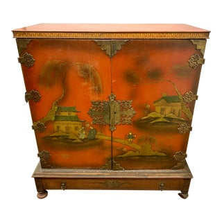 Early 20th Century Antique Chinese Chinoiserie Hand Painted Red Cabinet Bar For Sale