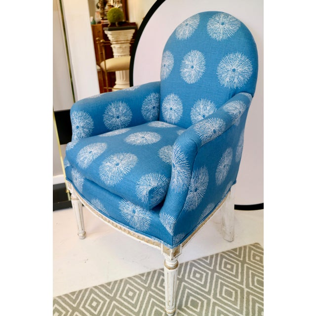 Amazing condition! Pair of blue french chairs, very vibrant. Dimensions of each chair: 25w - 22d - 36h