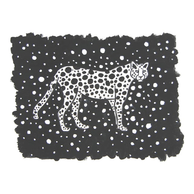 Black & White Leopard Cheetah Painting by Cleo Plowden For Sale