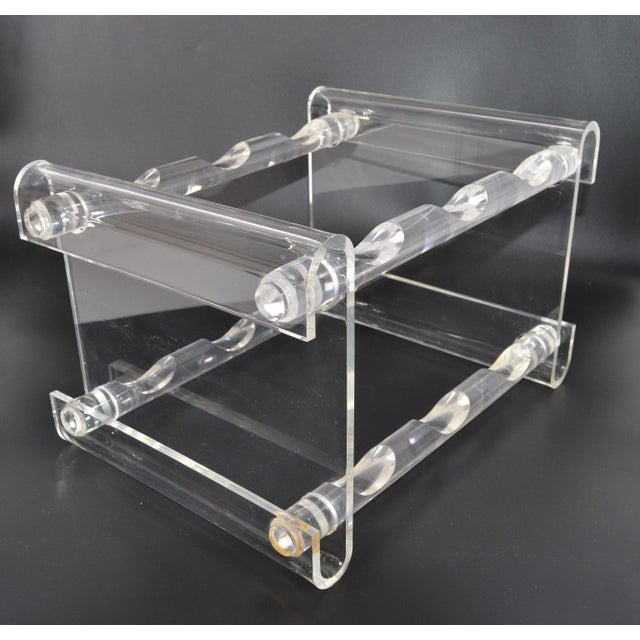 Mid-Century Modern Mid-Century Modern Six Bottles Lucite Table Top Wine Rack Beverage Stand 70s For Sale - Image 3 of 13
