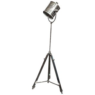 Industrial Metal Tripod Floor Lamp or Spotlight For Sale