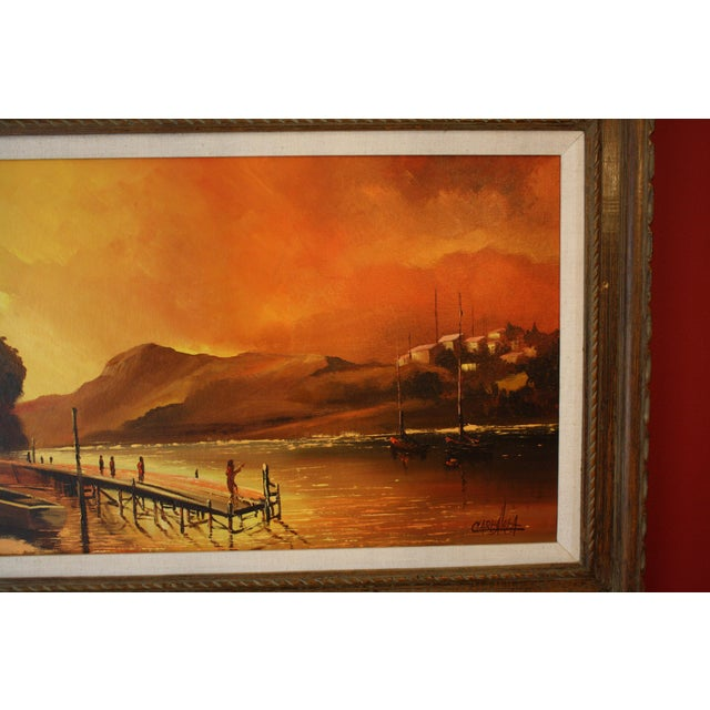 1970s Vintage Julio Carballosa Original Oil on Canvas Landscape Painting For Sale In Seattle - Image 6 of 11