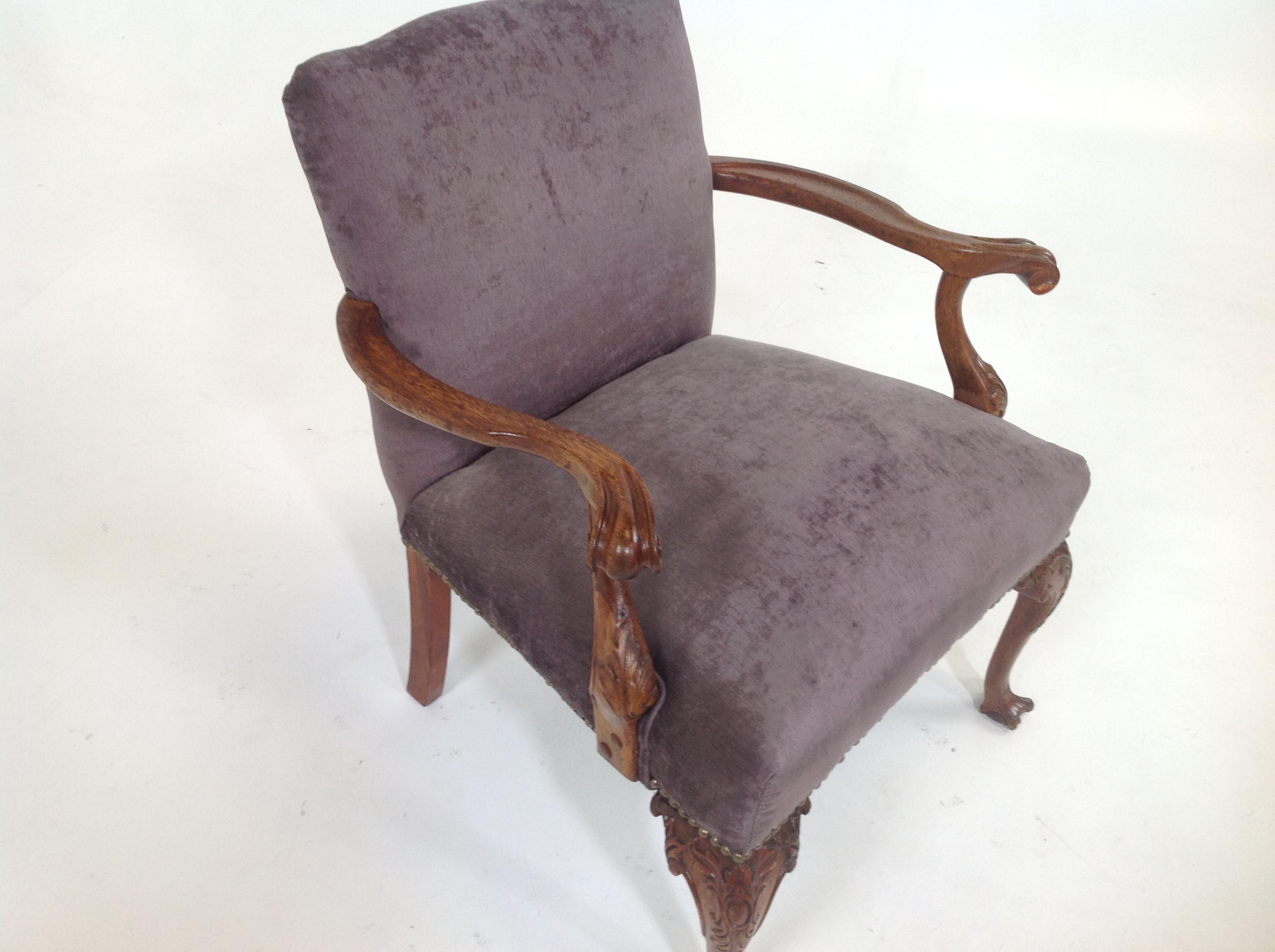 Antique Purple Velvet Claw Foot Chair   Image 3 Of 4