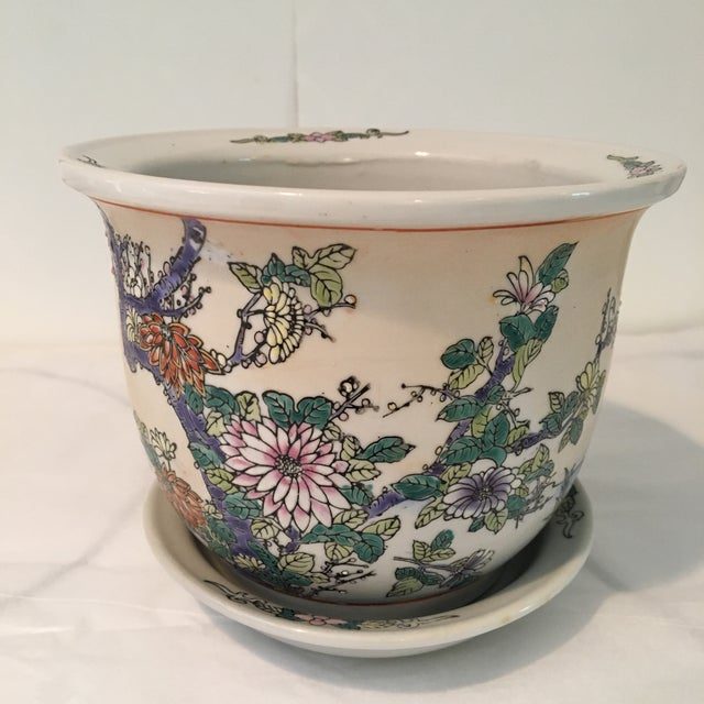 Hand painted vintage Chinese planter and decorated tray. Lovely floral design with several, long legged, Egret birds...