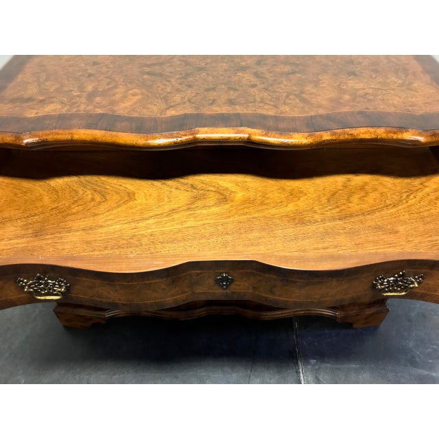 Chippendale Inlaid Banded Burl Wood Serpentine Four Drawer Dresser Chest For Sale - Image 11 of 13