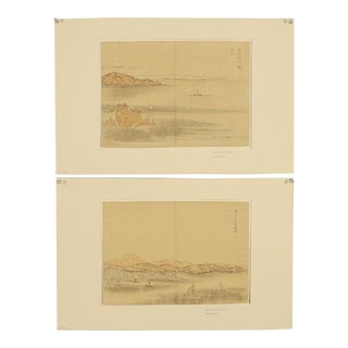 Pair of Japanese Woodblock Prints Circa 1940s For Sale