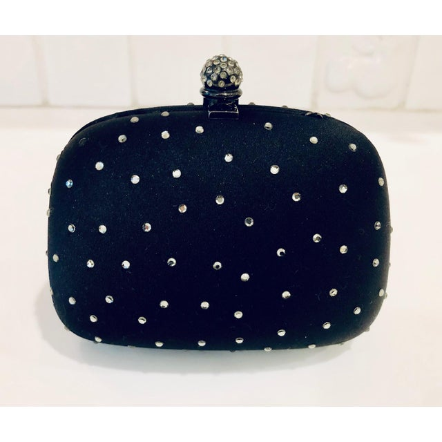 Rodo Black Silk Crystal Embellished Evening Purse For Sale In New York - Image 6 of 6