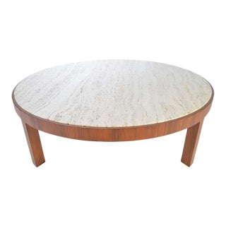 Travertine and Walnut Cocktail Table Attributed to Edward Wormley for Dunbar For Sale