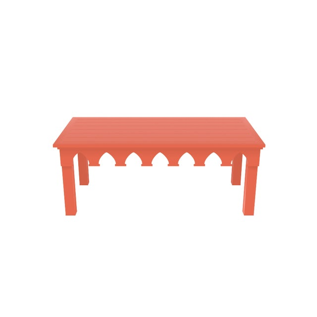 Oomph Ocean Drive Rectangle Outdoor Coffee Table, Orange For Sale In Charlotte - Image 6 of 7