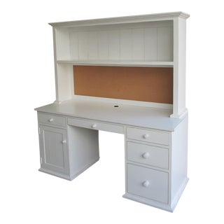 Custom Distressed White Desk With Bookcase For Sale