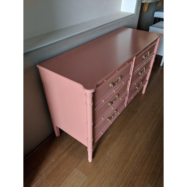 Asian 1970's Chinoiserie Henry Link Faux Bamboo Gloss Dresser For Sale - Image 3 of 4